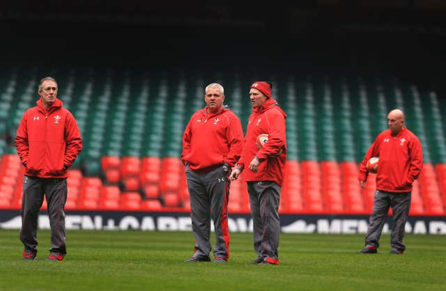 Gatland, centre left, with his coaching staff