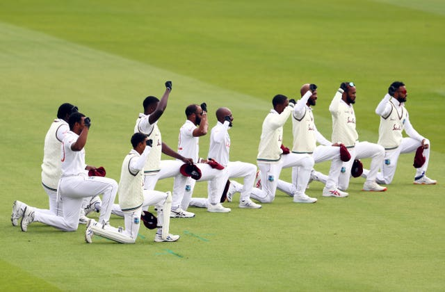 West Indies take the knee in support of the Black Lives Matter movement