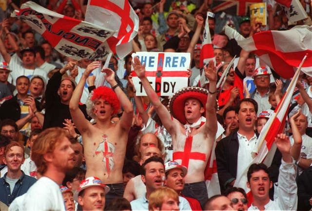 England fans before the start of the Euro 96 quarter-final clash with Spain