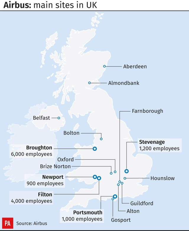 Airbus: main sites in UK.