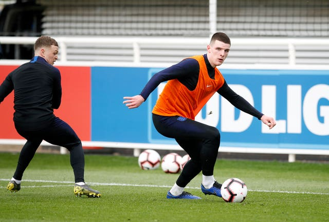 Declan Rice (right) got his first taste of England training at St George's Park. (Martin Rickett/PA Images)