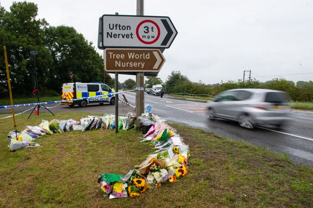 Flowers at the scene where Pc Andrew Harper died