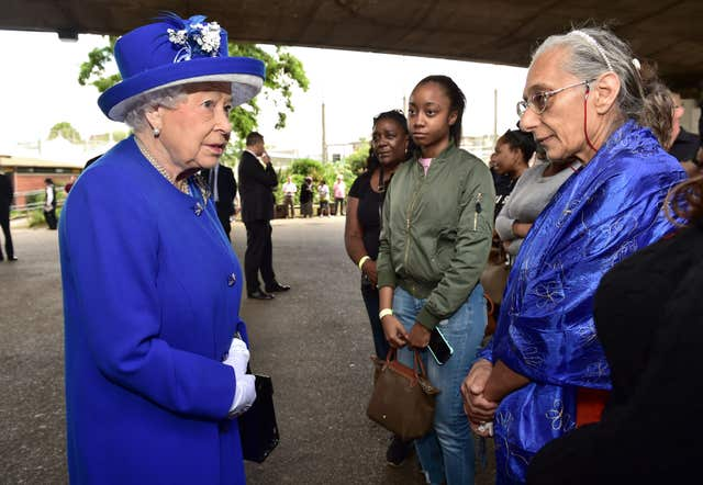 The Queen meeting members of the community after the fire in 2017