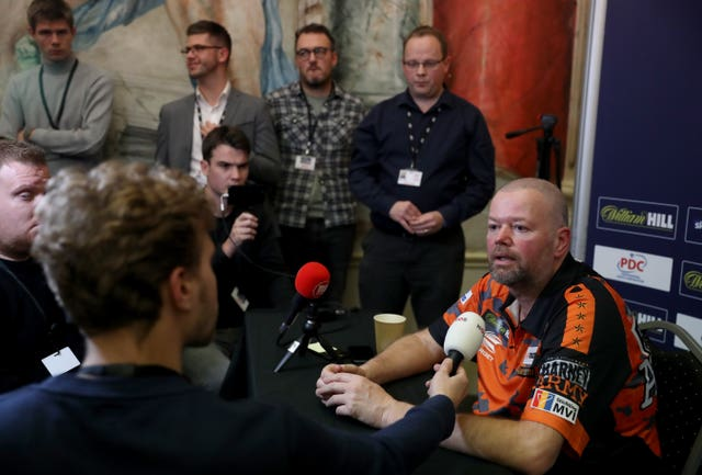 Raymond Van Barneveld during his post match interview after losing against Darin Young