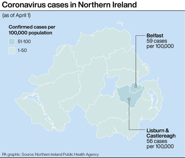 PA infographic about coronavirus cases in Northern Ireland