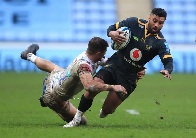 Wasps' Lima Sopoaga is halted by Ollie Devoto during Exeter's 34-5 Gallagher Premiership defeat at the Ricoh Arena
