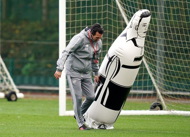 Emery was always hands-on during Arsenal training sessions.