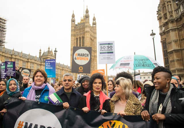 Mayor of London Sadiq Kahn and Bianca Jagger lead marchers in the March4Women (Dominic Lipinski/PA)