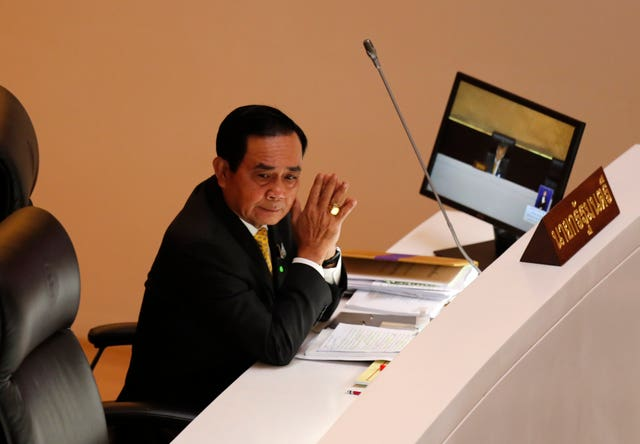 Thailand prime minister Prayuth Chan-ocha looks on during an open special session at the parliament house in Bangkok (Sakchai Lalit/AP)