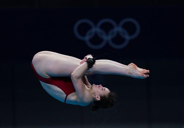Canada's Celina Toth practice for the diving 10m platform at Tokyo Aquatics Centre (Mike Egerton/PA)