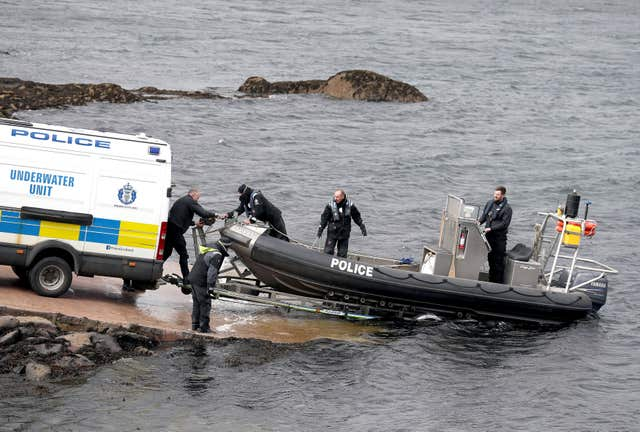 Police divers were involved in the recovery of the fishing trawler (Andrew Milligan/PA)