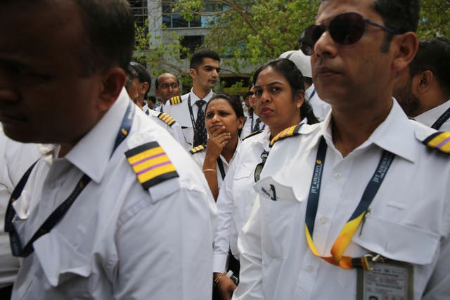 Employees of Jet Airways gather to demand clarification on unpaid salaries