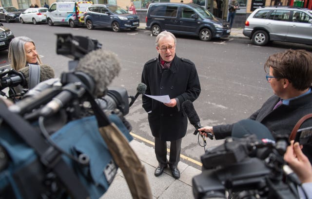 Daniel Janner QC speaks during a press conference outside the IICSA hearing building in London