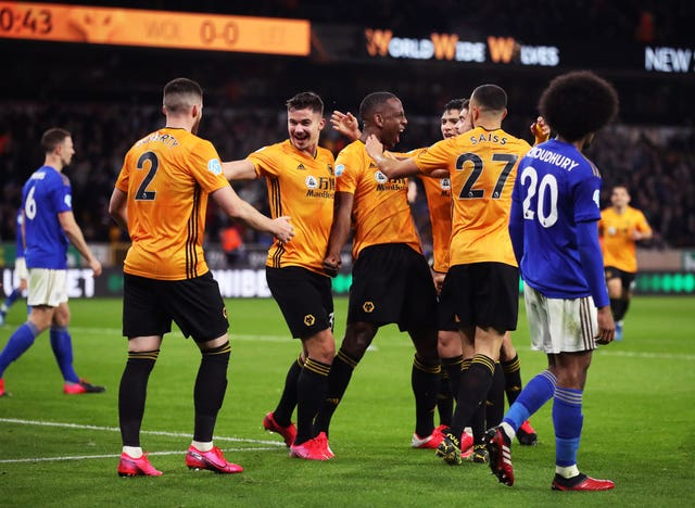 Willy Boly celebrates scoring but his goal is later ruled out for offside