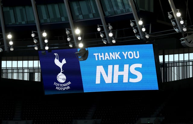 A message thanking the NHS at the Tottenham Hotspur Stadium