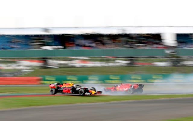 Ferrari's Sebastian Vettel and Red Bull's Max Verstappen collided at Silverstone