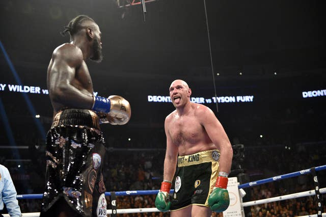 Deontay Wilder and Tyson Fury during the WBC heavyweight title bout