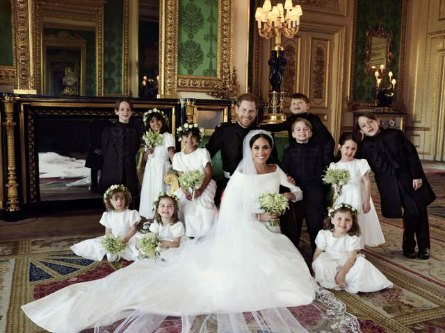 The duke and duchess with their bridesmaids and pageboys (Alexi Lubomirski)