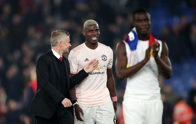 Paul Pogba and Ole Gunnar Solskjaer after beating Palace on Wednesday