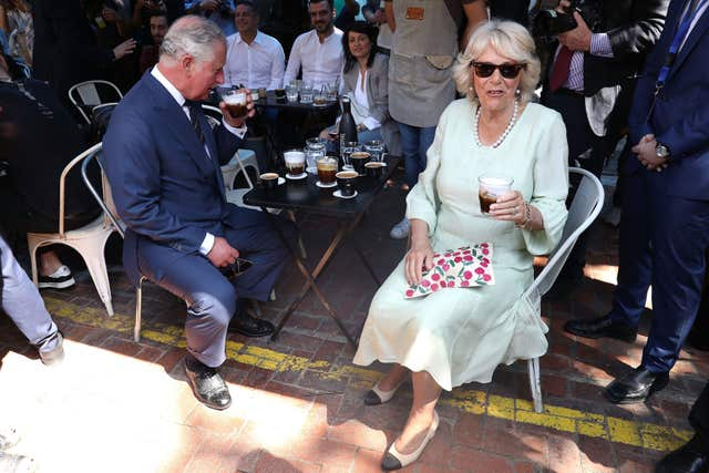 Charles and Camilla try traditional Greek coffee (Chris Jackson/PA)