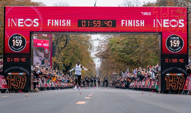 Eliud Kipchoge becomes the first becoming the first runner to finish a marathon distance in under two hours