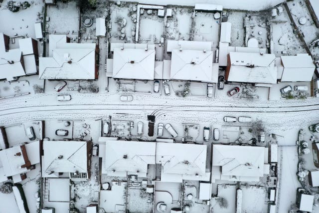 Snow-covered houses
