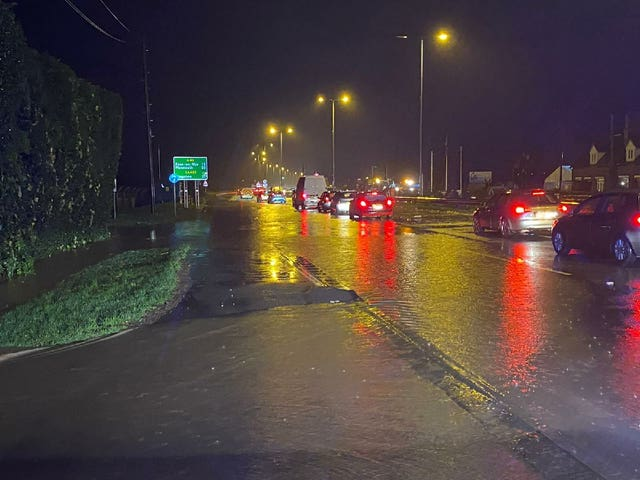 The A40 dual carriageway at Highnam in Gloucester was almost impassable on Wednesday night