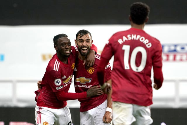Aaron Wan-Bissaka, Bruno Fernandes and Marcus Rashford, left to right, also scored in the latter stages for Manchester United
