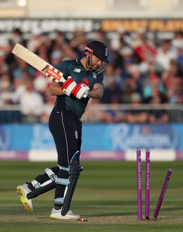 Bairstow struck the stumps with his bat after being dismissed for 128 in against Pakistan at Bristol