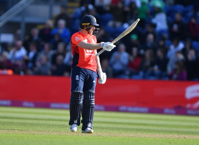 Eoin Morgan celebrate his 50 as England beat Pakistan by seven wickets in a Twenty20 international in Cardiff