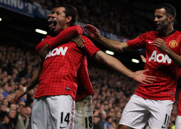 Javier Hernandez celebrates scoring his side's third goal as Manchester United beat Chelsea 3-2 during the 2012/13 season