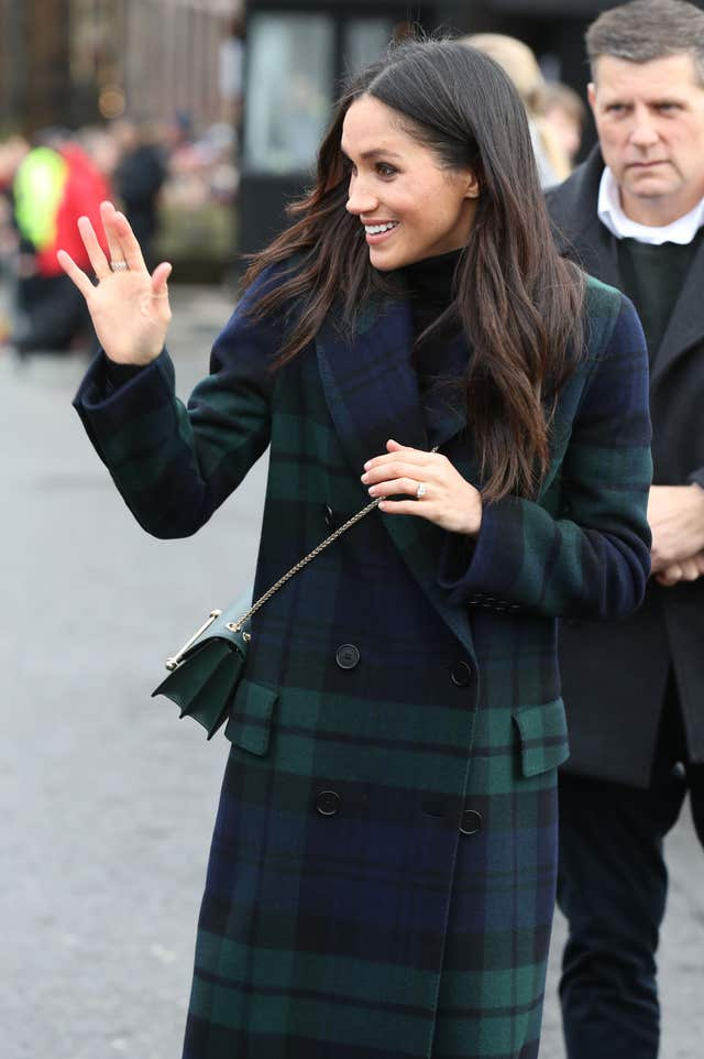Meghan Markle during a walkabout on the esplanade at Edinburgh Castle (Andrew Milligan/PA)
