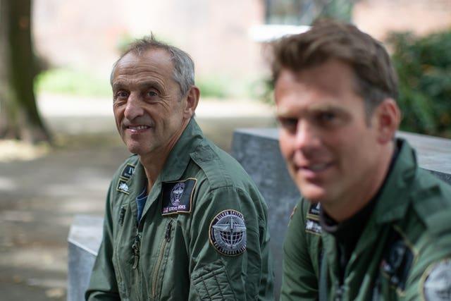 Spitfire pilots Steve Brooks, left, and Matt Jones