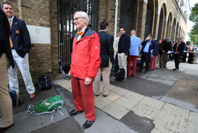Red trousers were the order of the day
