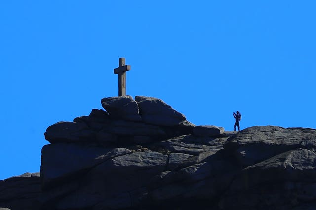 Blue skies around the Rylstone Cross near Skipton in North Yorkshire