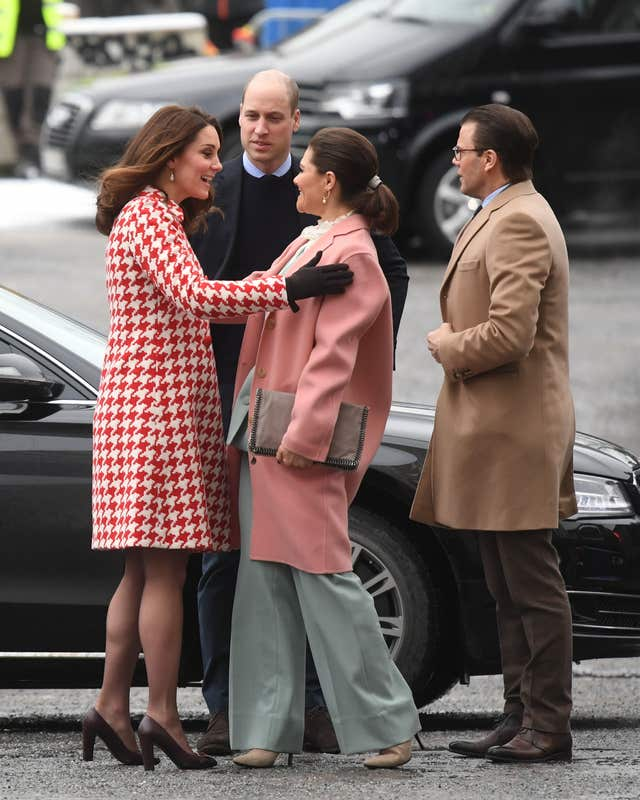 The Duke and Duchess of Cambridge, accompanied by Crown Princess Victoria and Prince Daniel of Sweden, arrive at the Karolinska Institute in Stockholm to hear about Sweden's approach to managing mental health challenges. (Victoria Jones/PA)