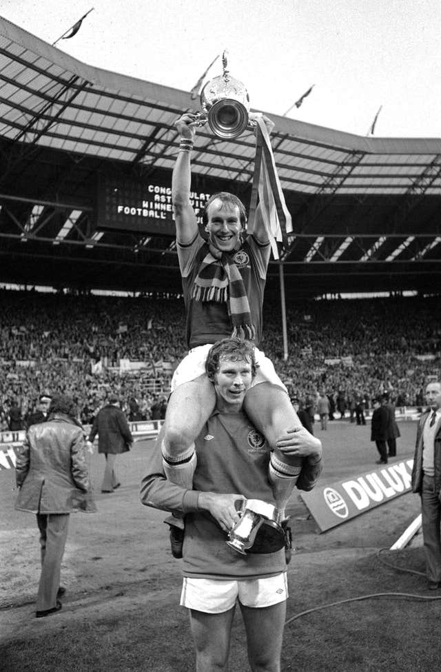 Ray Graydon celebrates Villa's League Cup win (PA)