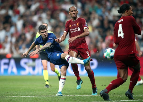 Pulisic made his first competitive start for Chelsea against Liverpool