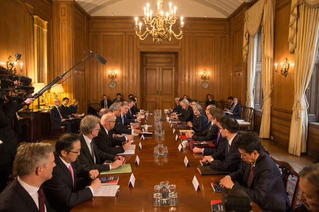 Prime Minister Theresa May hosts a roundtable with Japanese investors in the UK at 10 Downing Street. (Daniel Leal-Olivas/PA)