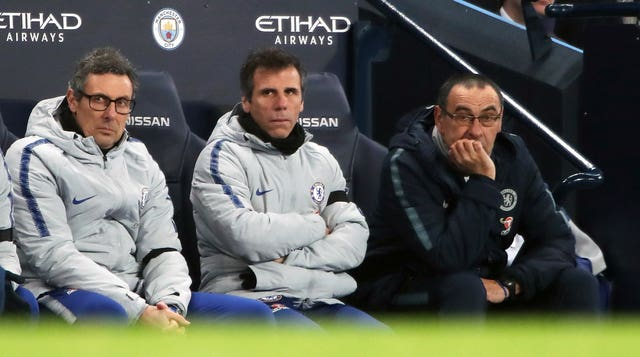 Gianfranco Zola (centre) hopes Chelsea can find their feet again