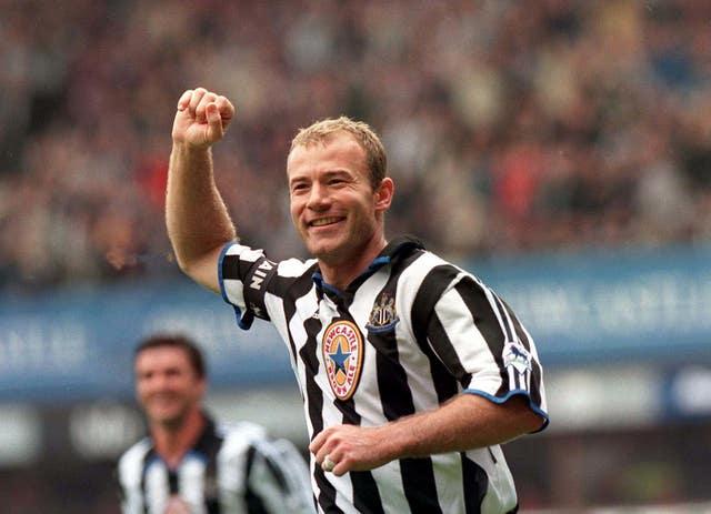 Alan Shearer celebrates a Premier League goal for Newcastle