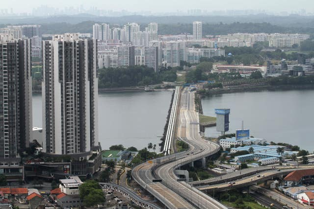 The Johor–Singapore Causeway lies empty