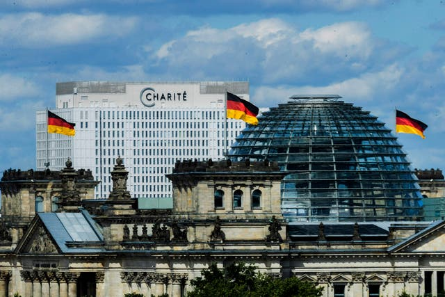 Berliner Charite can be seen behind the Reichstag in Berlin