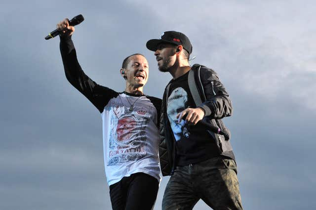 Mike Shinoda and Chester Bennington of Linkin Park pictured in 2014 before Bennington's death last year.