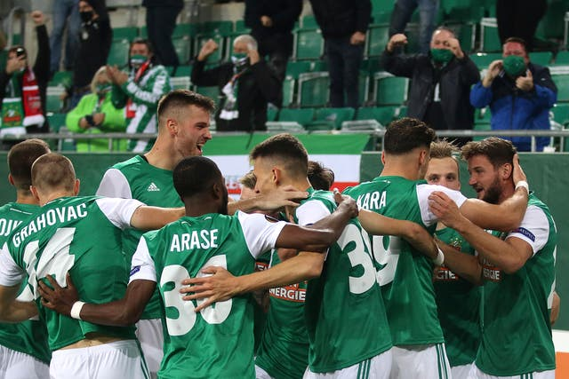 Rapid Vienna took the lead following a mistake by Bernd Leno