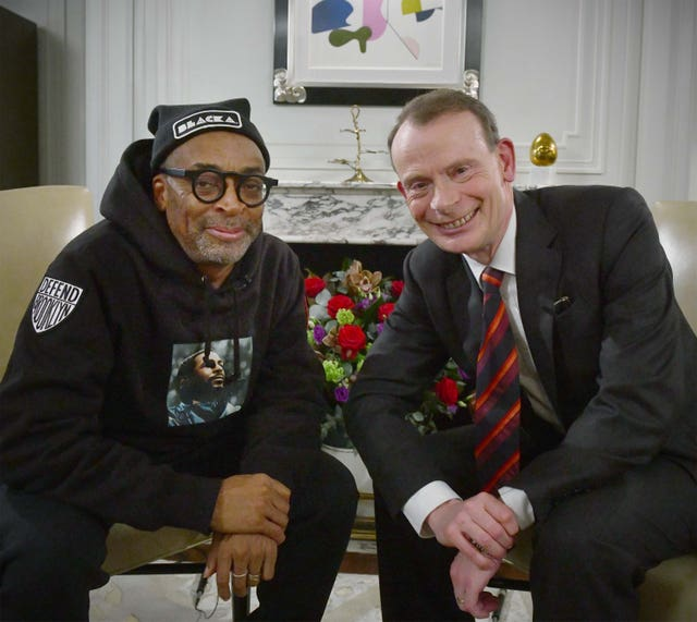 Director Spike Lee speaking to TV host Andrew Marr