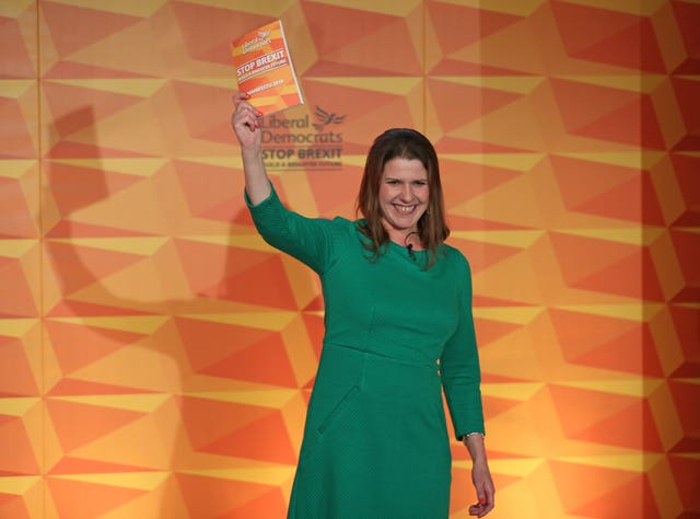 Jo Swinson during the launch of the Lib Dems' manifesto in Camden