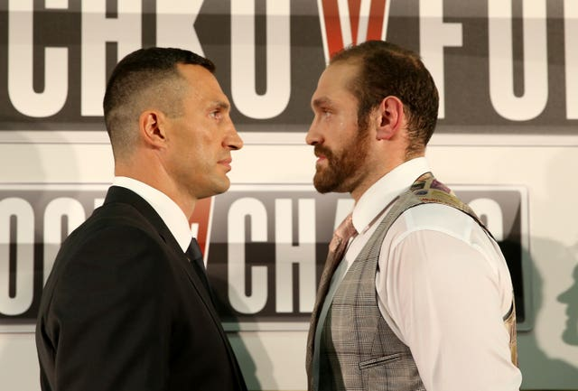 Tyson Fury (right) has not fought since beating Wladimir Klitschko (left) in 2015