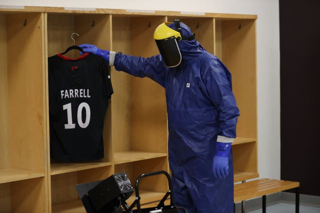 The players' changing room is one of the areas to have ultraviolet light cleaning treatment