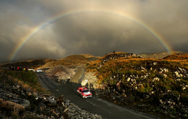 A rainbow lights up the rugged landscape as Great Britain's Ruairi Bell and Darren Garrod compete on day two of October's Wales Rally GB. Britain's most high-profile motor rally, held in Llandudno, was won by Estonian driver Ott Tanak, who went on to be crowned world champion
